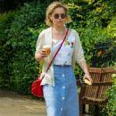 Emilia Clarke in Long Skirt – Grabs a coffee in London