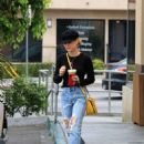 Lucy Hale in Ripped Jeans at Coffee Bean in Studio City - 454 x 589