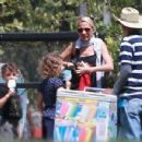Nicole Richie is spotted taking her children Sparrow and Harlow to the Kidspace Children's Museum in Pasadena, California on July 22, 2015 - 454 x 350