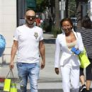 Melanie Brown in White  Suit – Shopping in Beverly Hills