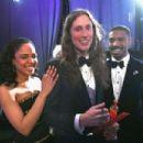 Tessa Thompson and Michael B. Jordan at the 91st Annual Academy Awards - Backstage - 454 x 303