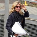 Rachel Hunter Holds On To Her Pillow As She Arrives At South Bank Studios In London To Appear On The British, Televised Talk Show 'Loose Women', 2008-07-23