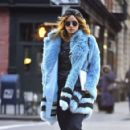 Suki Waterhouse in Blue Fur Coat out in Soho February 3, 2017
