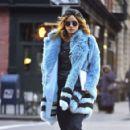 Suki Waterhouse in Blue Fur Coat out in Soho February 3, 2017
