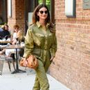 Lily Aldridge in Green Outfit – Out in New York City - 454 x 682