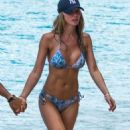 Lauren Pope in Blue Bikini on the beach in Barbados - 454 x 753