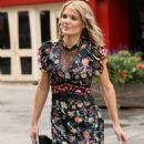 Charlotte Hawkins -In a floral print dress at the Global Offices in London - 454 x 634