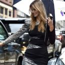 Nadine Leopold in Mini Dress – Out in New York