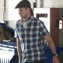 Justin Timberlake walks into a building on Saturday (October 22) in Brentwood, Calif