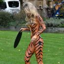 Joanna Krupa – Bodypaint while protesting outside Westminster in London - 454 x 663