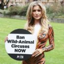 Joanna Krupa – Bodypaint while protesting outside Westminster in London - 454 x 576