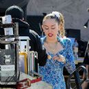 Miley Cyrus – Filming a movie candids in Los Angeles - 454 x 681
