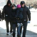 Singer Pink goes for a walk with her husband Carey Hart and their daughter Willow on a chilly morning in New York City, New York on December 12, 2013 - 454 x 567