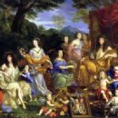 Mythological portrait of the Family of Louis XIV (1670). From left to right: The Queen Henrietta Maria of France (1609); Philippe of France, Monsieur (1640); his daughter Marie Louise (1662); his wife Henrietta of England (1644); the queen Mother Anne of - 454 x 327
