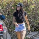 Brittany Furlan in Jeans Shorts – Out in Calabasas