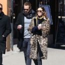 Alexa Chung in Leopard Prin Coat out in New York - 454 x 610