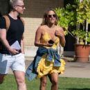 Caroline Flack in Yellow Mini Dress – Out in London - 454 x 610