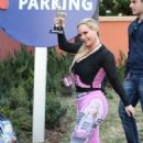 Nicole Coco Austin in Tights at Universal Studios in Universal City