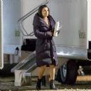 Lea Michele on set of 'Untitled City Mayor Project' in LA - 454 x 450