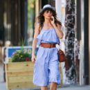 Helena Christensen in Blue Dress out in New York - 454 x 605