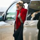 Emilia Clarke in Travel Outfit – Heathrow Airport in London 02/21/2019