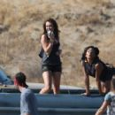 """Miley Cyrus filming her new music video called """"Party in the U.S.A"""" in Los Angeles - September 12, 2009"""