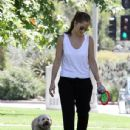 Minka Kelly and her canine pal Chewbacca spend the day at the park in Los Angeles where the pair played in the heat