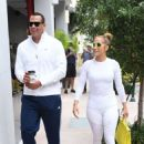 Jennifer Lopez in White Tights with Alex Rodriguez at a Gym in Miami - 454 x 630