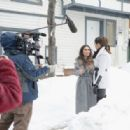 Olivia Culpo conducts interview on the streets of Park City for Amazon's Style Code Live on January 21, 2017 in Park City, Utah - 454 x 316