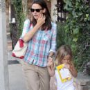 Ben Affleck and his wife Jennifer Garner take their adorable girls Violet and Seraphina out for lunch at the Villeta restaurant on Sunday (July 10) in Brentwood, California
