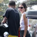 Kendall Jenner in Black Jeans Shorts at the Malibu County Mart