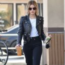 Lucy Hale in Leather Jacket – Out in Studio City