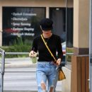 Lucy Hale in Ripped Jeans at Coffee Bean in Studio City - 454 x 663