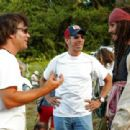 Director Gore Verbinski and Johnny Depp on the set from Walt Disney Pictures' Pirates of the Caribbean: Dead Man's Chest - 2006