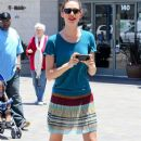 Emmy Rossum and her mother Cheryl getting a coffee at Starbucks in Hollywood, California on July 7, 2012