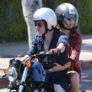 Josh Hutcherson and his new girlfriend Claudia Traisac go for a motorcycle ride to Mendocio Farm in Los Angeles, California on June 22, 2013