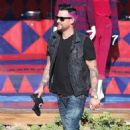 Joel Madden leaving Andy Lecompte Salon with a new purple hairstyle in West Hollywood, CA (August 8)