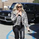 Khloe Kardashian in a Black Snakeskin Emsemble at Malibu Farm Pier Cafe in Malibu