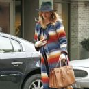 Rosie Huntington Whiteley in Colorful Coat Out in New York