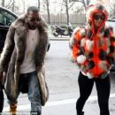 Amber Rose and Kanye West Out in Paris, France - January 21, 2010