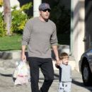 Ben Affleck stops by the farmer's market in Pacific Palisades, California to pick up some last minute Super Bowl Sunday snacks with his children on Feburary 1, 2015