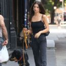 Emily Ratajkowski taking her dog out for a walk in NY