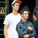Joe Jonas and actor Ansel Elgort seen leaving The Bowery Hotel in New York City, New York on September 3, 2014