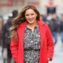 Kelly Brook in Red Coat – Exit Heart Radio in London