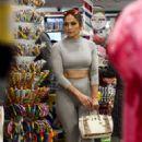 Jennifer Lopez in Grey Tights – Shopping in Miami