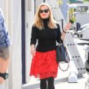Reese Witherspoon in Red Skirt out in Los Angeles - 454 x 636