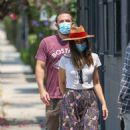 Ana De Armas – Looks cute in summer dress with Ben Affleck at Nick Fouquet hat shop in Venice - 454 x 724