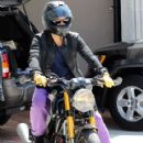 Orlando Bloom takes his motorcycle out for a ride on April 4, 2012 in Los Angeles, CA