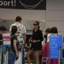 Alicia Vikander in Shorts with Michael Fassbender in Ibiza October 19, 2017