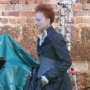 Margot Robbie on the set of 'Mary Queen Of Scots Movie' in Goldthorpe